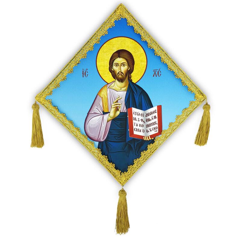 Επιγονάτιο μεταξοτυπίας «Ιησούς Χριστός» σε μπλε υπόβαθρο